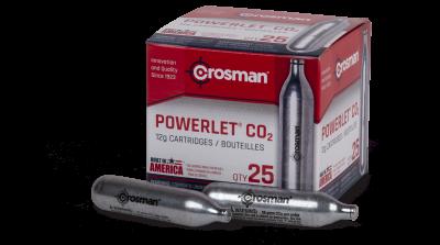 Crosman Powerlet CO2 Cartridges (25ct) box with cartidges