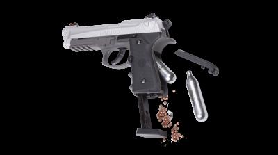 Crosman Mako (BB) open with cartridge and BBs