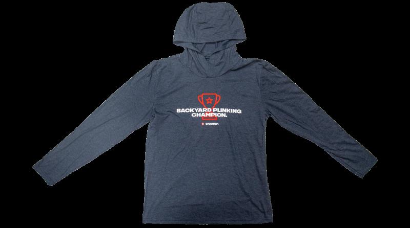 Crosman Logo Tee - Backyard Plinking Champion, Long Sleeve with Hood