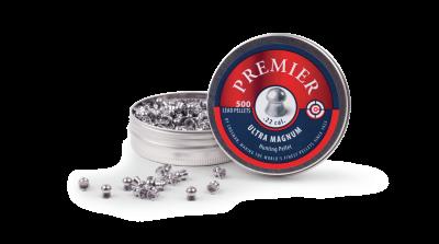 Crosman Domed Pellet (.22) open tin and spilled pellets