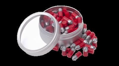 Crosman Red Flight Penetrator (.22) open tin and spilled pellets