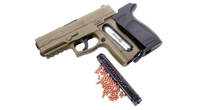 Crosman MK45(BB) open with cartridge and BBs